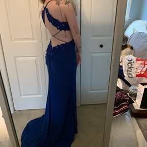 Royal blue cut-out prom dress